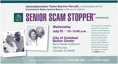Senior Scam Stoppers Seminar on Wednesday, July 31 at the Carlsbad Senior Center from 10 - 11:45 a.m.