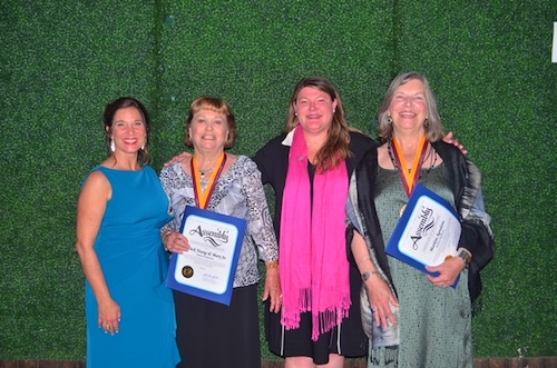 Pictured from left to right, OMA Executive Director Maria Mingalone, Medical of Distinction Honoree Mary Jo Young, Asm. Tasha Boerner Horvath, and Medal of Distinction Honoree Marylin Agredano.